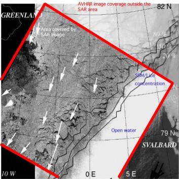 Isdriften gjennom Framstredet blir målt hver 3.dag i antall kvadratkilometer som passerer breddegraden 79N. Pilene viser isens bevegelse på 3 dager i februar oppå et ASAR bilde, dvs. radarsensor oppe i en satellitt. (Figur: Kjell Kloster, Nansensenteret)