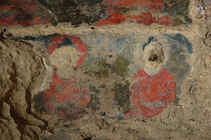 """""""Detalj fra et maleri i en av hulene. (Foto: National Research Institute for Cultural Properties, Tokyo, Japan)"""""""