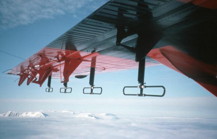 """""""Ved hjelp av radar og spesielle instrumenter montert under vingene, skal forskningsflyene kartlegge hele den gigantiske """"fryseboksen"""" som gjemmer Gamburtsev-fjellene. (Foto: British Antarctic Survey)"""""""