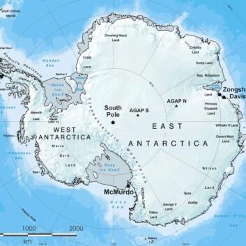 """""""Illustrasjonen viser hvordan fjellkjeden ligger begravd under inntil fire kilometer med evig is. (illustrasjon: British Antarctic Survey)"""""""