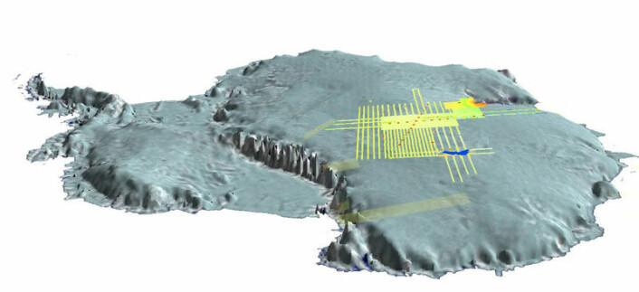 """""""Området som skal undersøkes ligger midt på det antartiske kontinent, mange tusen kilometer fra åpent hav. De praktiske utfordringene for ekspedisjonen er store. (Foto:British Antarctic Survey)"""""""