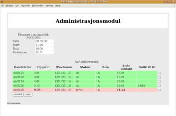 Administrasjonsmodulen slik som eksamensvakten vil se den.