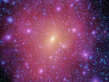 """""""Galakseringene (galaxy halos) er enorme strukturer, som omslutter hele galakser. Forskerne har simulert hvordan ringene ble til, helt siden Big Bang. (Illustrasjon: Vigo Consortium)"""""""