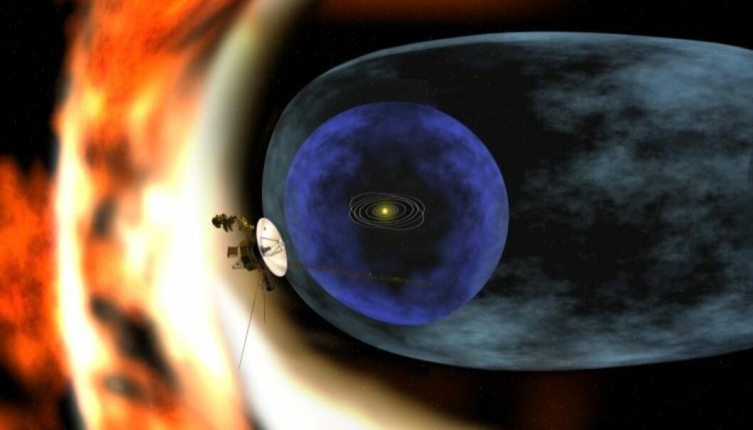 Illustrasjonen viser romsonden Voyager 2 som studerer heliosfærens ytre grenser (Illustrasjon: NASA/JPL)