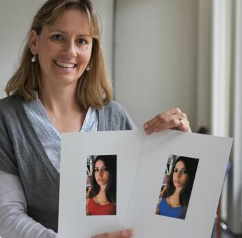 """""""Forsker Daniel Niesta byttet ut fargen på blusen til den avbildede kvinnen. Det viste seg at mennene foretrakk den røde. (Foto:University of Rochester)"""""""