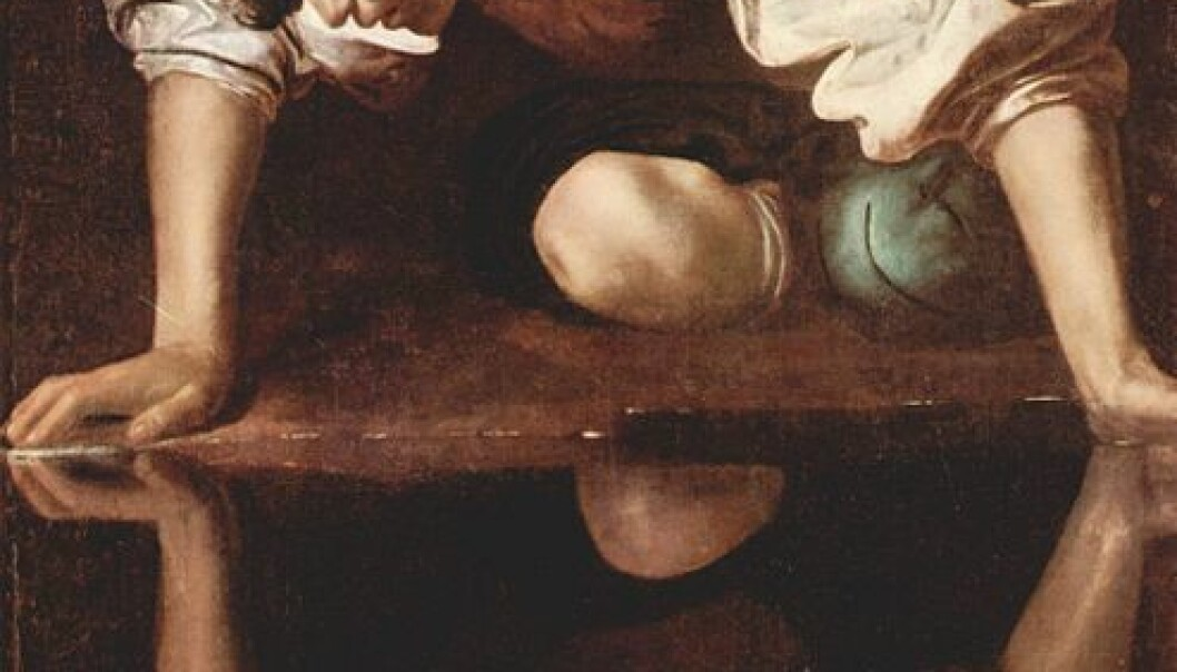 Caravaggios Narcissus. Maleriet henger i Galleria Nazionale d'Arte Antica i Roma. (Fra Wikimedia Commons)