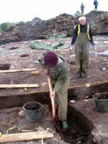 """""""Feltleder Ingvil Torvik (bak) sørger for at utgravingene går som de skal på hennes område."""""""