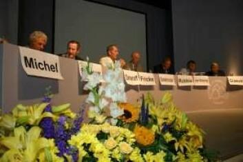 Nobelprisvinnere på rekke og rad.(Foto: Sybille Hildebrandt)