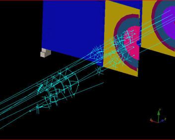 """""""Partikkelspor registrert av den såkalte VELO-detektoren ved LHC, i forbindelse med testingen av synkroniseringssystemene som startet 23. august. (Foto: CERN)"""""""