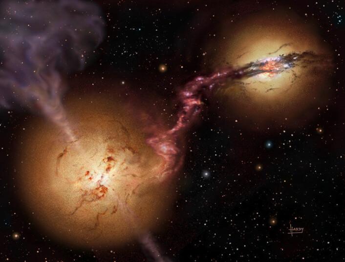 """""""Slik ser forskerne for seg at4C60.07 og nabogallaksen så ut for 12 milliarder år siden. Galaksen til venstre i illustrasjonen har omformet mesteparten av gassene til stjerner, mens det sorte hullet i midten av galaksen slynger ut ladede partikler i to voldsomme jetstrømmer. Galaksen til høyre gjemmer også på et sort hull. Store mengder stjerner er i formasjon.(Illustrasjon:David A. Hardy/UK ATC)"""""""