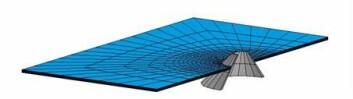 Elementnett for simulering av interaksjonsprosess mellom isflak og konisk konstruksjon. (Illustrasjon: Norut Narvik)