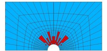 Beregnet bruddmønster sett ovenfra...