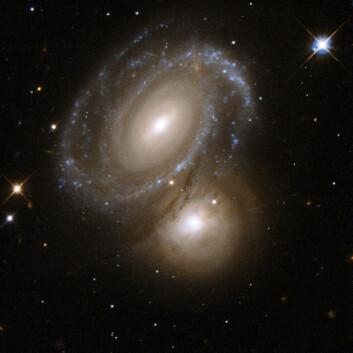 """""""Den nesten perfekt symmetriske galaksen i forgrunnen dekker, og er delvis opplyst av, den bakenforliggende galaksen. Sistnevnte galakse var tidligere klassifisert som en elliptisk galakse. Men de nye bildene fra Hubbleteleskopet avslører at det dreier seg om en spiralgalakse, med stjerner i knuteformasjoner. Galaksene befinner seg i stjernebildet Dorado, omlag 350 millioner lysår unna. (Foto: NASA/ESA)"""""""
