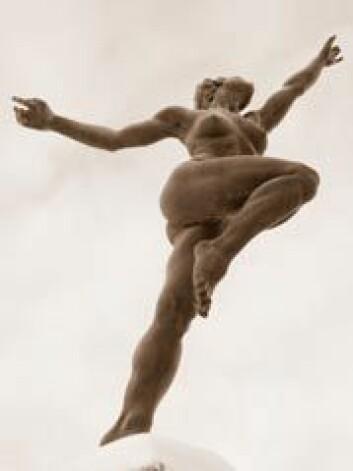 """""""Det er få som egentlig synes det er gøy å trene på treningssenter. Men det er godt etterpå. Bildet viser Kirsten Kokkins «Joy», som står utenfor Norges idrettshøgskole. (Foto: Susanne Moen)"""""""
