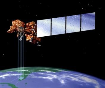 """""""Det er NASA-satellittene Landsat (illustrert over) og Earth Observer 1, som hjelper arkeologene. Satellittene registrer reflektert lys fra bakken i forskjellige deler av det elektromagnetiske spekteret, også i bølgelgender som ikke fanges opp av det menneskelige øyet. (Illustrasjon: NASA)"""""""