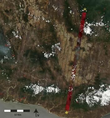 """""""Arkeologene drar nytte av en satellitteknologi som vanligvis brukes over urbane strøk. Detaljer i landskapet som ikke er synlige med det blotte øye, kommer tydelig fram på satellittbildene. (Foto: Rochester Institute of Technology)"""""""