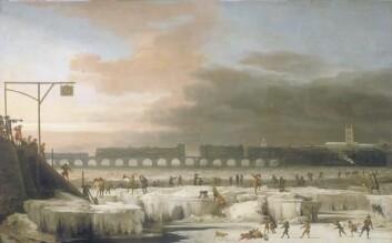 """""""Perioden fra midten av 1600-tallet og fram til begynnelsen av 1700-tallet var uvanlig kald. ILondon frøs Themsen jevnlig til is. (Foto:Wikipedia commons)"""""""