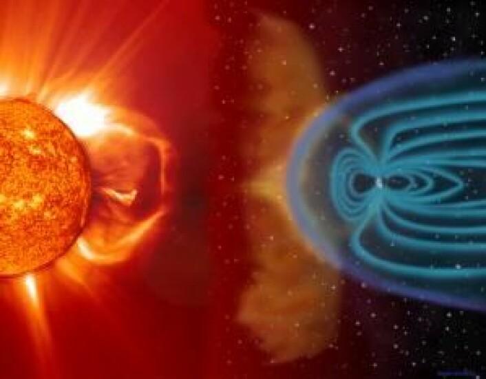 Illustrasjonen viser en sky av elektrisk ladede gasser som er slynget ut av sola og stanses av jordas magnetfelt.