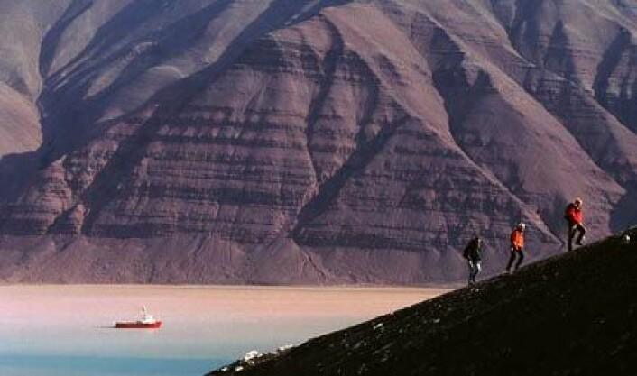 Det mektige landskapet i Bockfjorden på Svalbard. Det har vært et av AMASEs faste tilholdssteder under den korte arktiske sommeren. Foto: AMASE