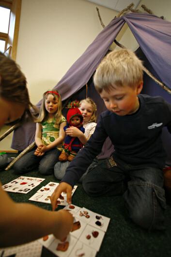 Den sørsamiske barnehagen i Snåsa vart oppretta i 2002. Han har som mål at alle ungane der skal ha sørsamisk som daglegspråk. (Foto: Leif Arne Holme)