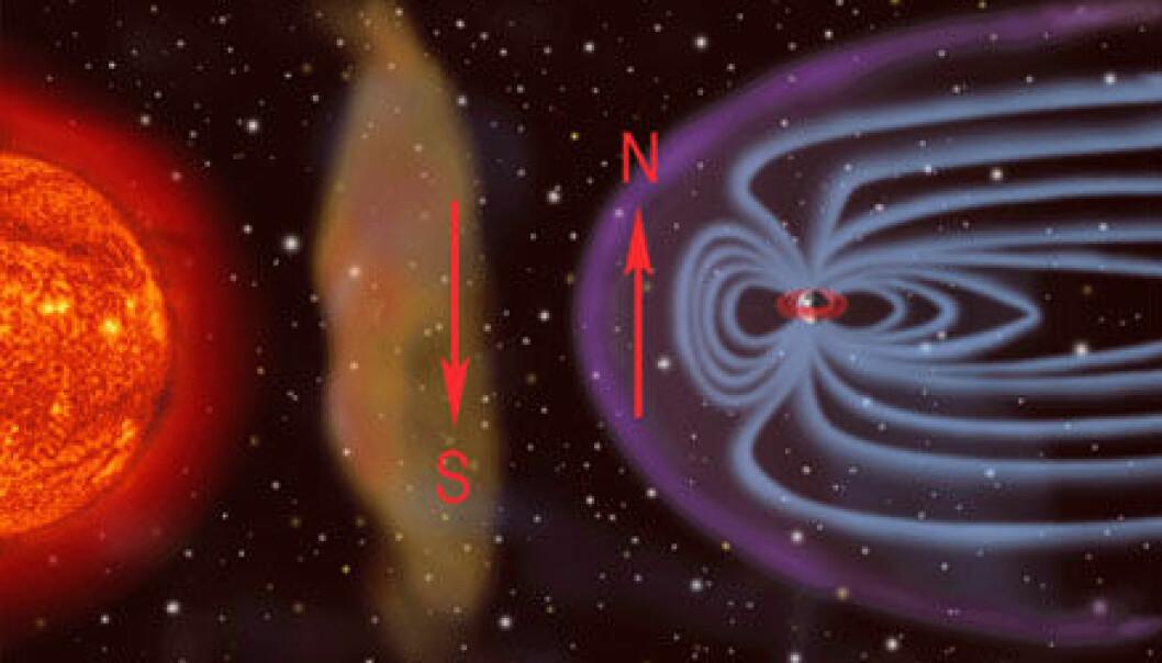 """""""Den nye gasskyen på vei mot jorda kan ha magnetfelt med motsatt retning av jordens. Da kan det blir trøbbel - og nordlys. (Foto: SOHO, NASA)"""""""