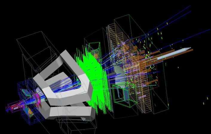 """""""Illustrasjon av en partikkelskur som spres gjennom de forskjellige nivåene til LHCb-detektoren. (Illustrasjon: CERN)"""""""