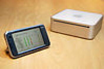 Lomme-PC-en kopler seg trådløst opp til maskinen som pasientene har hjemme. (Foto: Jan Fredrik Frantzen, Nasjonalt senter for telemedisin)