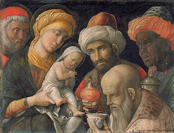 The Adoration of The Magi av Andrea Mantegna, Paul J. Getty Museum.