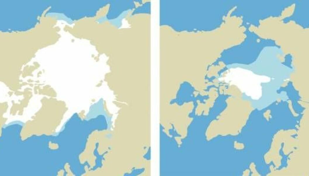 """""""Det arktiske isdekket i mars til venstre. Isdekket i august til høyre. Lyseblått viser dagens situasjon. Det hvite viser en mulig situasjon i 2080. (ill. RegClim)"""""""