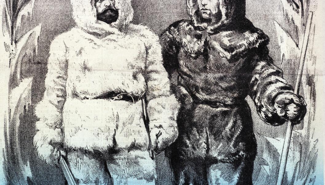 """Weyprecht og Payer i heltepositur. Der Floh, 1874."""
