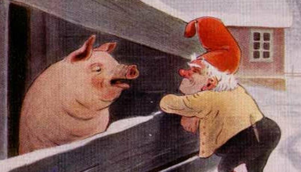 """""""Fjøsnissen godsnakker med julegrisen."""""""