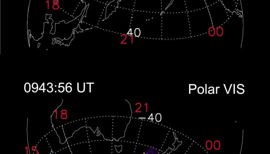 """""""Satellittbilder av aurora på nord- og sydpolen."""""""
