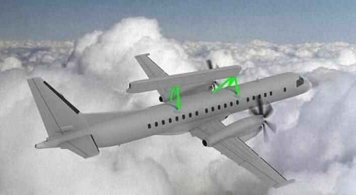 """""""Forskere ved Norut i Narvik håper å redusere vekten på radarsøylene (grønt på illustrasjonen) med 30 prosent."""""""