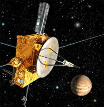 """""""Romsonden Ulysses har undersøkt solens polområder, solvinden og solens magnetfelt siden 1990. Men i februar 2008 er romodysséen nesten over. Bildet er en illustrasjon."""""""