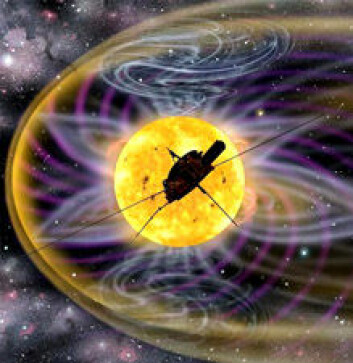 """""""Ulysses har gitt mye ny kunnskap om både solens polområder, solvinden og solens magnetfelt. Et roterende objekt som solen har et magnetfelt som bøyer seg i spiral, på samme måte som vannet fra en spinnende plenvanner. Bildet er en illustrasjon."""""""
