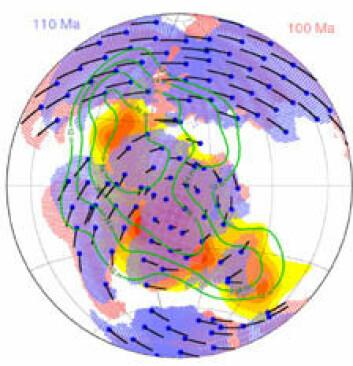 """""""Rekonstruksjon av kontinenter for 110-100 millioner år siden, viser sammenhengende rotasjon i den paleomagnetiske referanseramen, og representerer sannsynligvis polvandring. (Bilde: Bernhard Steinberger)"""""""