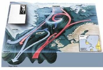"""""""Svalbard (øverst t. h. på ill.) ligger som en navle midt i alt vannet som skal ut og inn av Polhavet. Golfstrømmen bringer med seg varmt sjøvann fra Mexicogulfen. Rundt Svalbard møter det kaldt ferskere vann fra Polhavet. 95 prosent av vannet som skal ut av Polhavet, går ut i Framstredet mellom Svalbard og Grønland. """""""