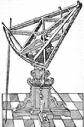 """""""Tegning av Tycho Brahes sekstant som ble bygget veldig stor for å observere himmelrommet."""""""