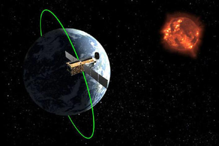 """""""Hinode har forsket på sola siden oktober 2006. Hinode går i en bane rundt jorda som gjør at satellitten alltid befinner seg i dagslys. Bildet er en illustrasjon. (Foto: JAXA) """""""