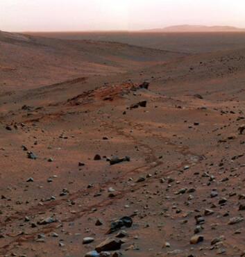 """""""Dagbilde fra Gusev-krateret, tatt i 2005 av Spirit. Sporene etter kjøretøyet sees tydelig i sanden. Fargene på bildet er falske."""""""