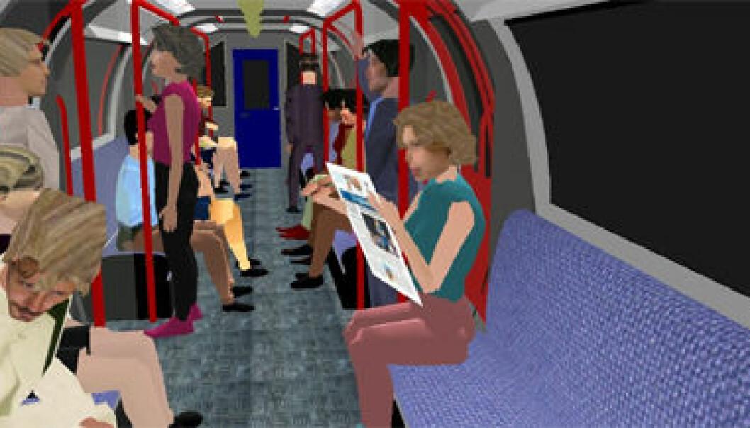 """""""Avatarer på virtuell t-bane. Motiv fra simulasjonen forskerne brukte for å klartlegge paranoide tanker og mistenksomhet hos folk. Foto: Department of Computer Sciences, University College London."""""""