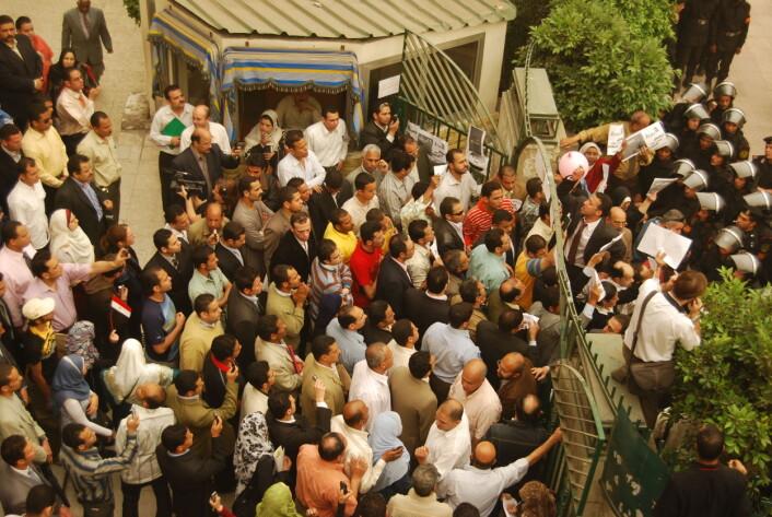"""""""Egyptere demonstrerer mot økte brødpriser. (Foto: Lars Akerhaug)"""""""