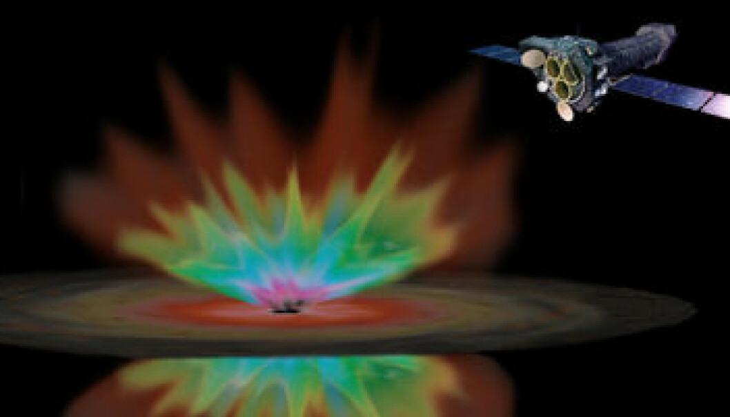 """""""Det europeiske romobservatoriet XMM-Newton studerer noen av Universets voldsomste fenomener. Kvasarene skyldes supertunge sorte hull som slurper i seg gass og stjerner fra omgivelsene. Stråler med svært varm blir slynget ut igjen. (Illustrasjon: MPA/MPE)"""""""