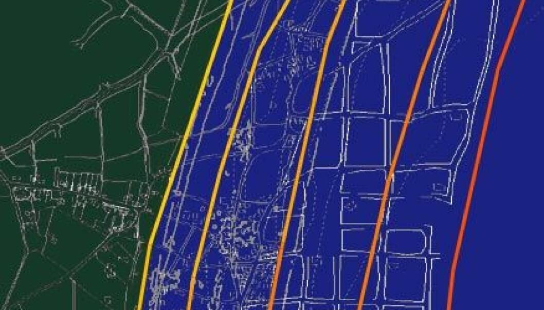 """""""Kart over Dunwich med nåværende og tidligere kystlinjer og veier tegnet inn. Illustrasjonen er bearbeidet av forskning.no fra en original laget av David Sear."""""""