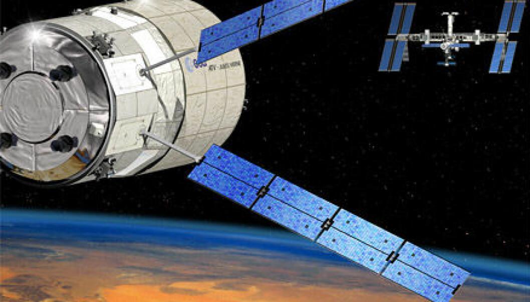 """""""Illustrasjonen viser Automated Transfer Vehicle, ATV, på vei til den internasjonale romstasjonen."""""""