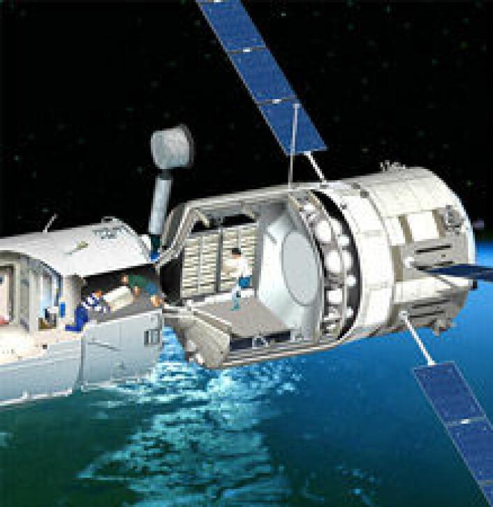 """""""ATV vil sitte på den russiske modulen av romstasjonen og være åpen inn til stasjonen. Her kan ATV bli i opp til et halvt år."""""""