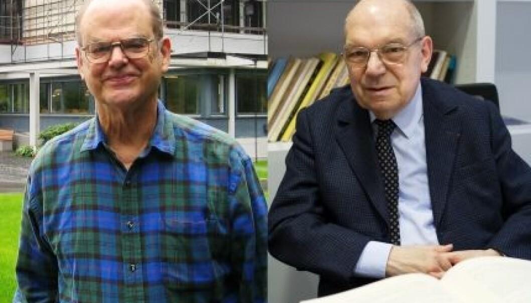 """John Griggs Thompson (t.v) og Jacques Tits (Foto: Renate Schmid/Oberwolfach Photo Collection/Jean-François Dars/CNRS Images)"""