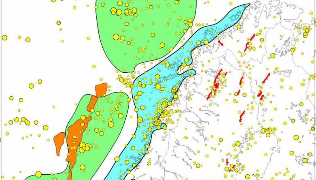 """""""Kartet viser hvor sedimenter var tidligere (blå) og der de ligger nå (grønn). De gule prikkene indikerer jordskjelv. Storfjorden ligger i en erosjonssone med stor jordskjelvaktivitet. Se større versjon av kartet nederst i artikkelen."""""""