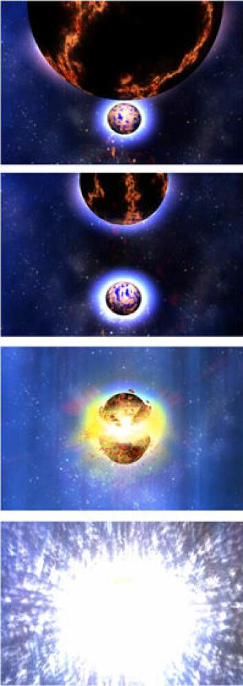 """""""Ingen vet hva det voldsomme gammaglimtet for 7,4 milliarder år siden skyldes. Men den ledende forklaringsmodell, vist på denne illustrasjonen, er at to nøytronstjerner krasjet, og skapte den ekstreme energiutladningen."""""""