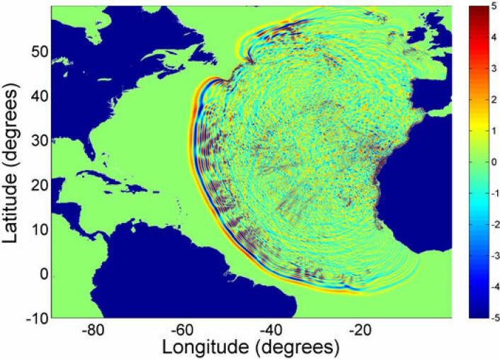 """""""Beregning av flodbølgeutbredelse fra potensielt skred fra La Palma på Kanariøyene."""""""
